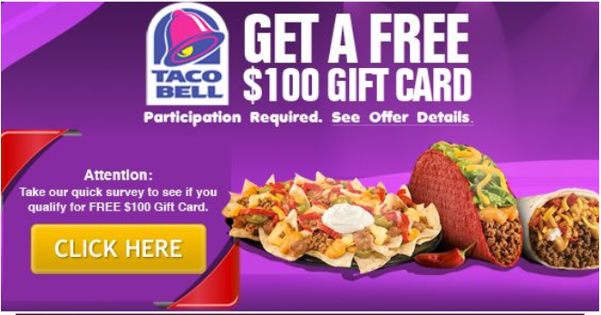 Take Surveys & Offers Get Free Taco Bell Gift Card